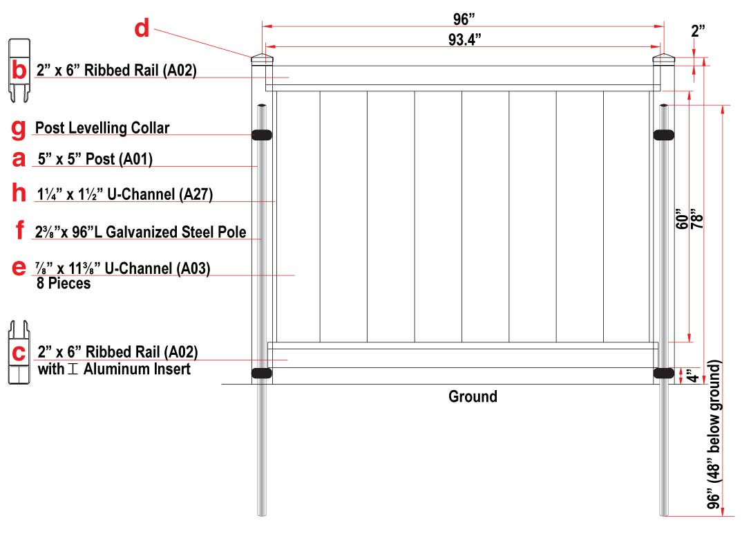 vinyl fence diagram outlining specifications and components