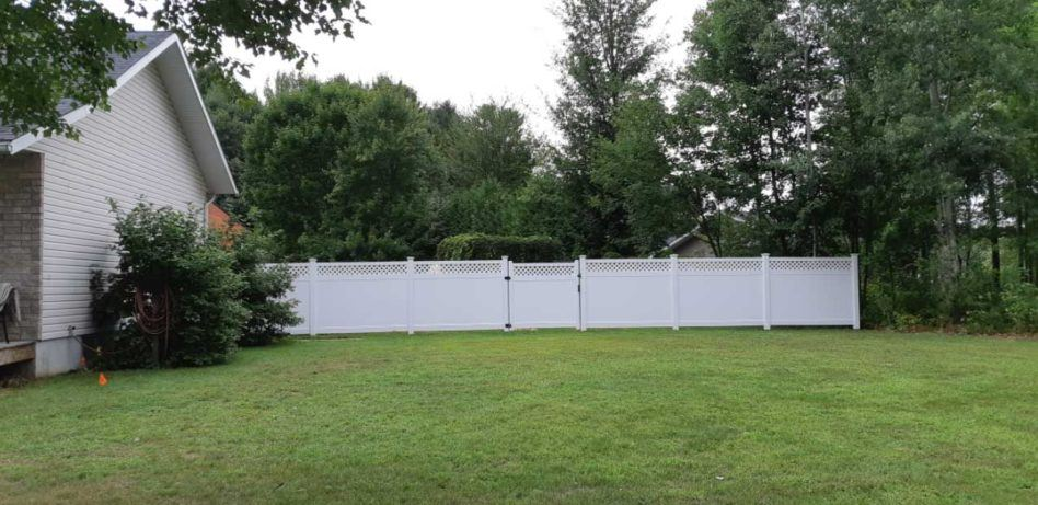 pvc vinyl privacy fence in residential backyard surrounded by trees